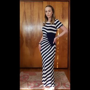 Trulli Navy Blue & White Striped Fitted Maxi Dress